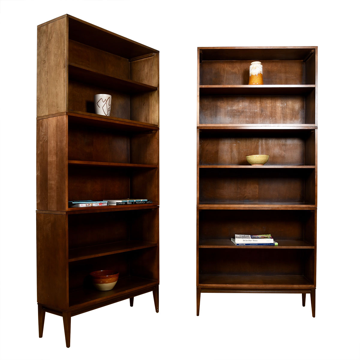 Pair of Mid Century Modern Walnut Paul McCobb Petite Tall Stacking Bookcases