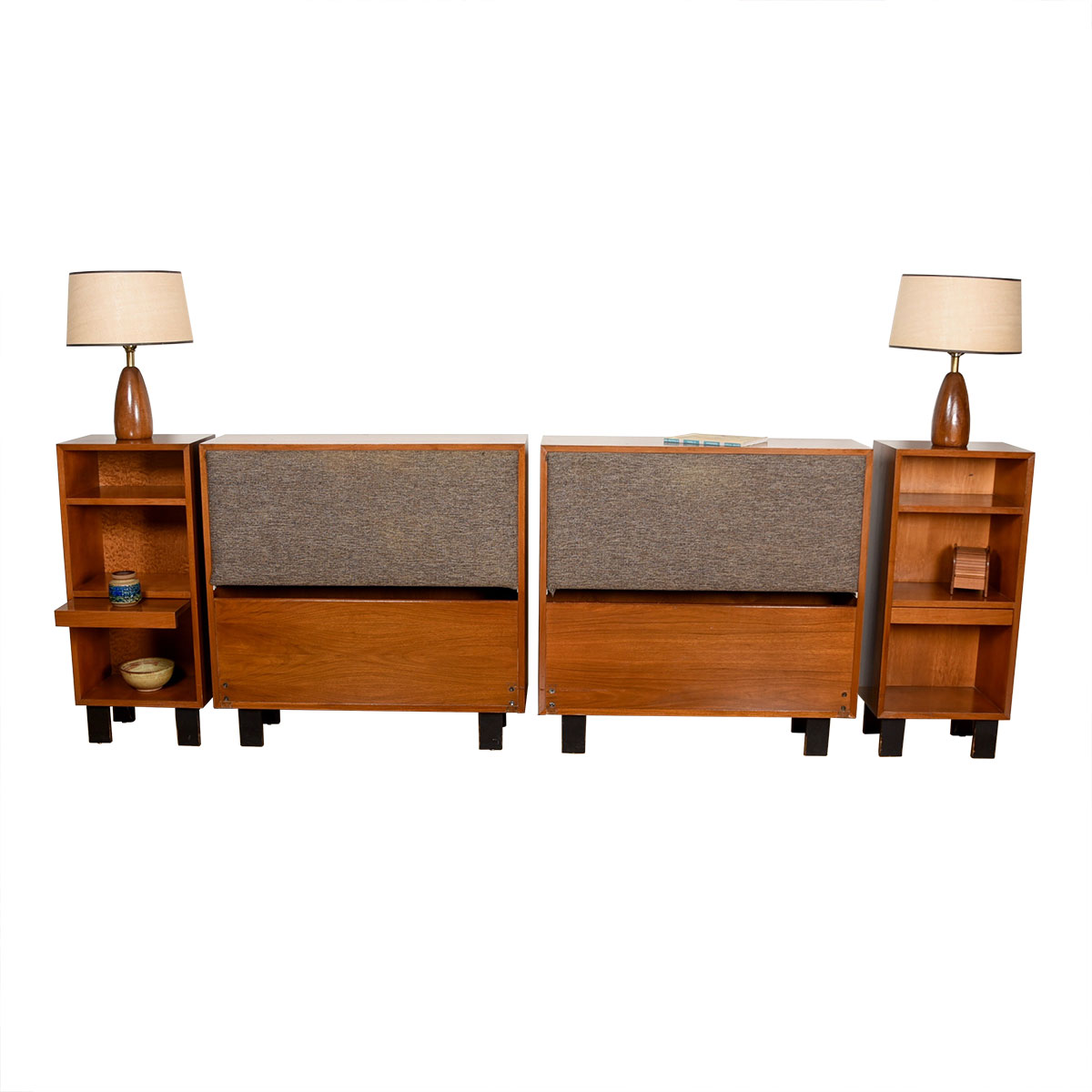 Pair of George Nelson Mid Century Modern Headboards & Nightstands for Herman Miller