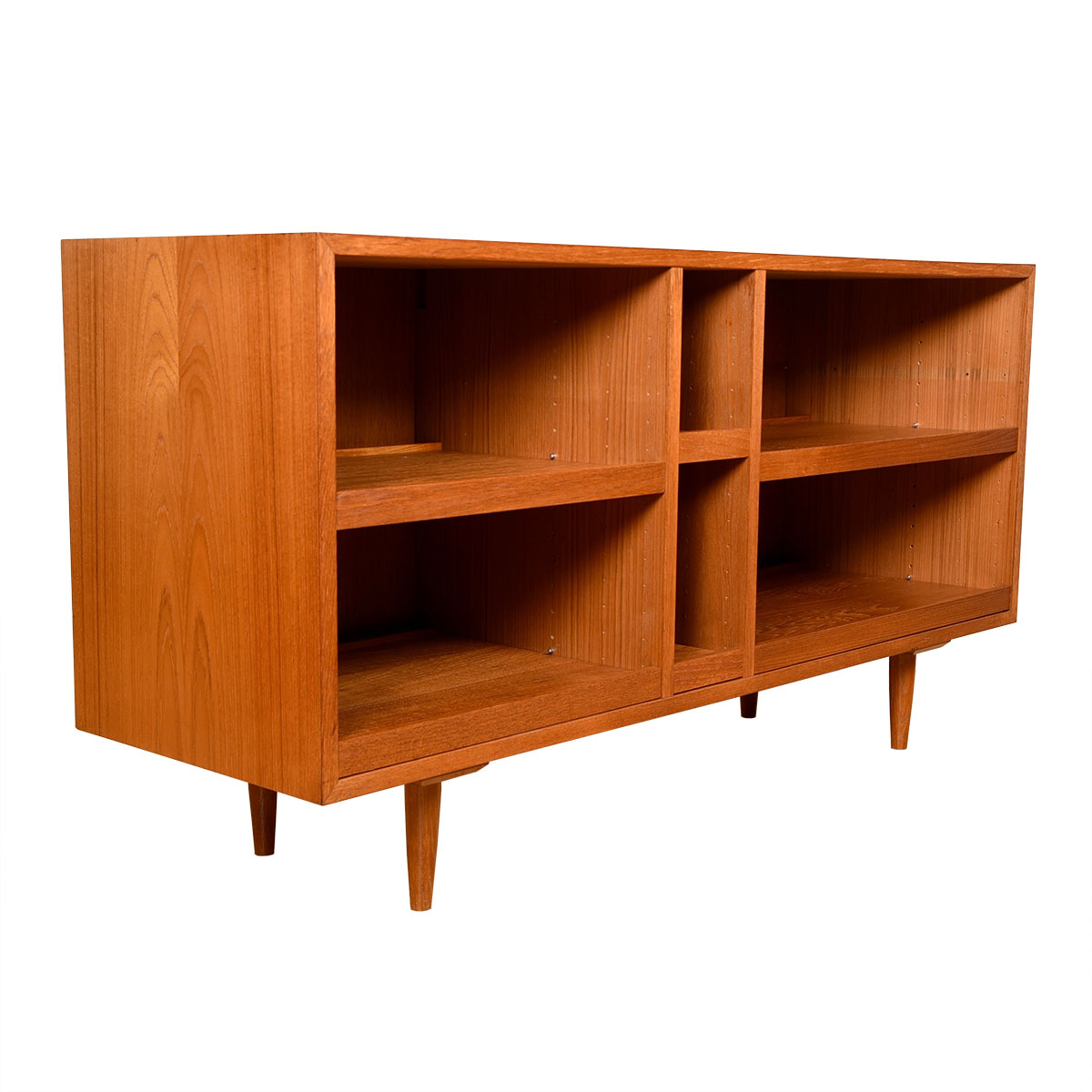 Open Danish Teak Media Cabinet w/ Pull-Out Shelves!