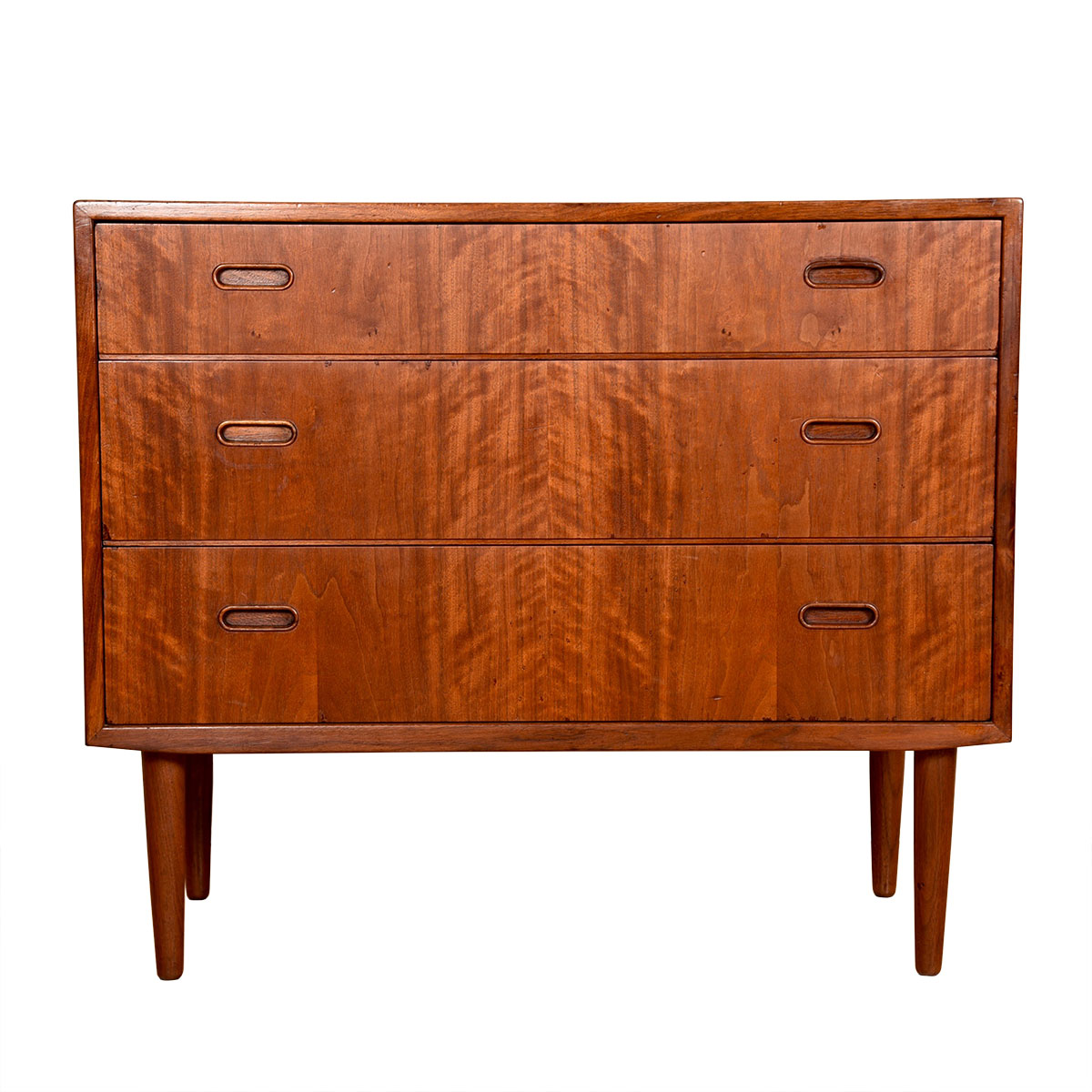 Danish Modern Compact Teak 3 Drawer Chest / Dresser