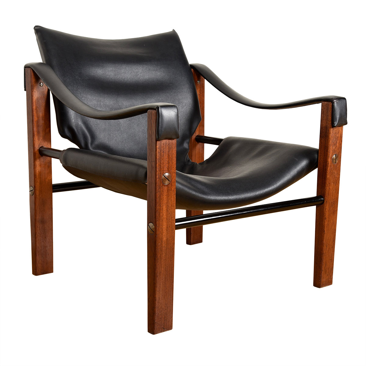 Danish Rosewood & Black Leather Upholstered Lounge Chair