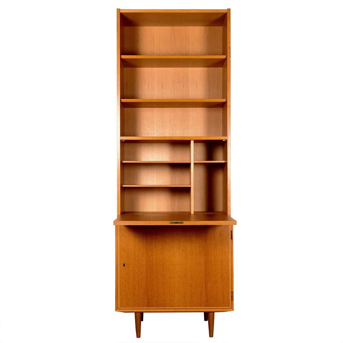 Slim Danish Teak Locking Cabinet + Secretary Bookcase Top