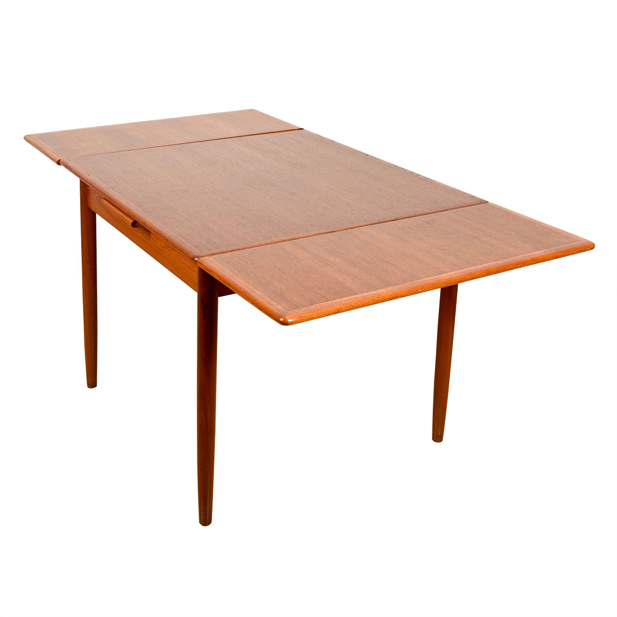 Danish Modern Teak Compact Square Expanding Dining Table