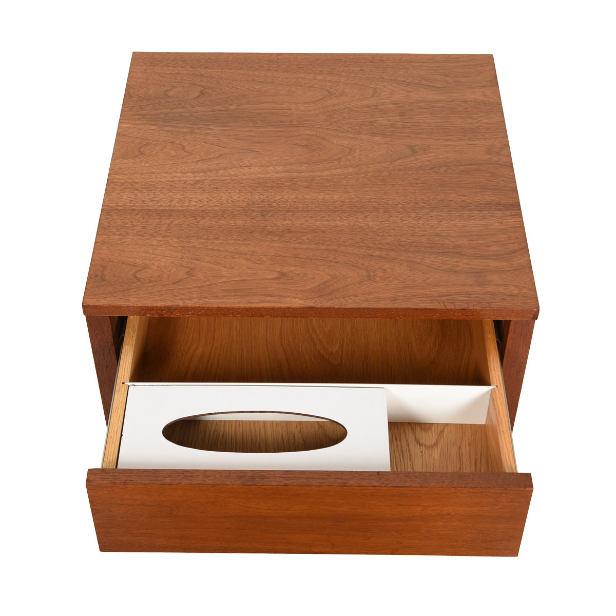 Knoll Walnut Mid-Century Nightstand w/ Rare Kleenex Holder