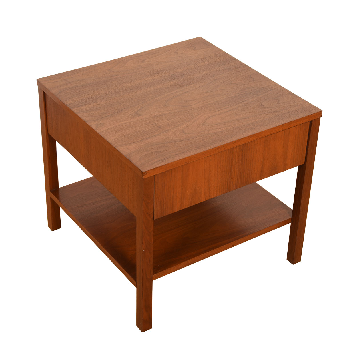 Pair Knoll Mid Century Walnut Nightstand w/ Rare Kleenex Holder