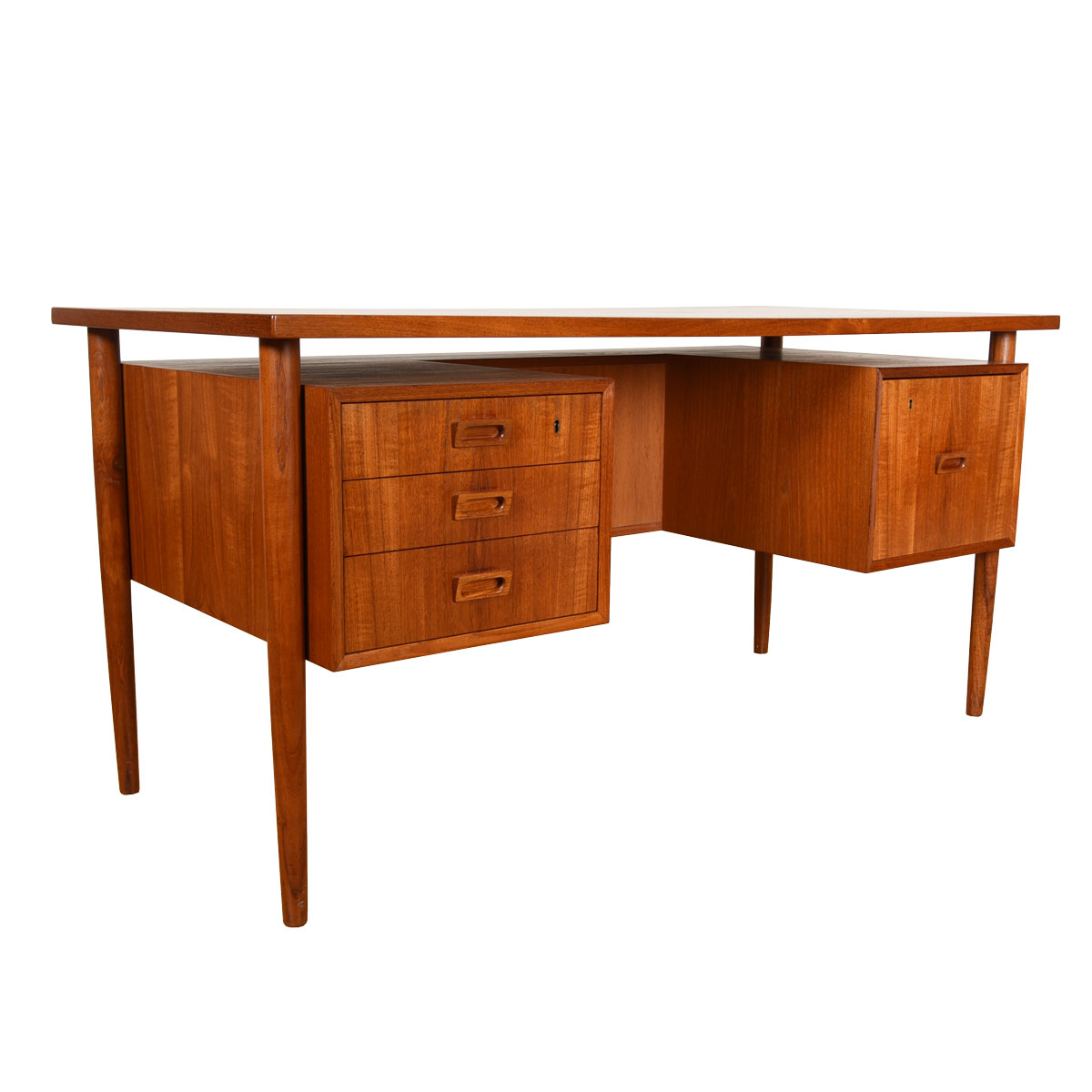 Danish Modern Teak Floating Desk w/ Bookcase Front