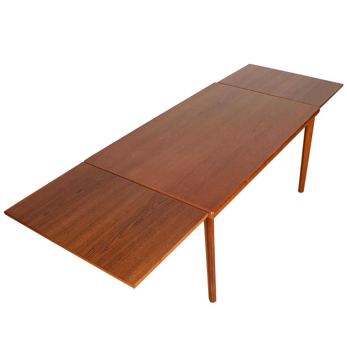 Compact Danish Modern Teak Rectangular Expanding Dining Table