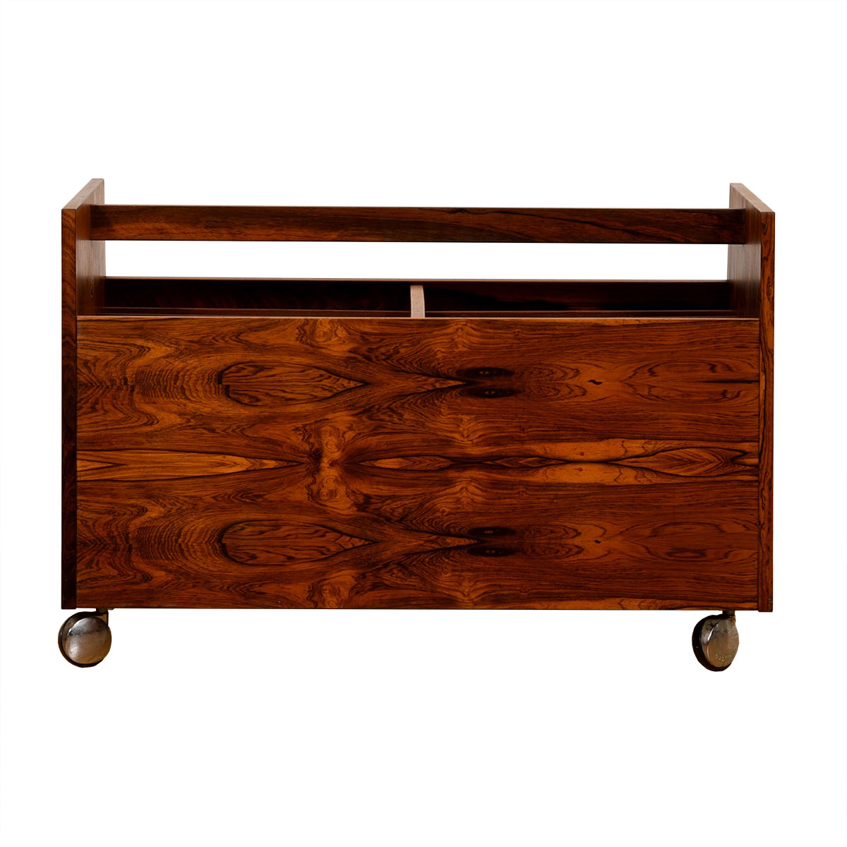 Danish Modern Rosewood Double-Column Rolling Magazine Cart