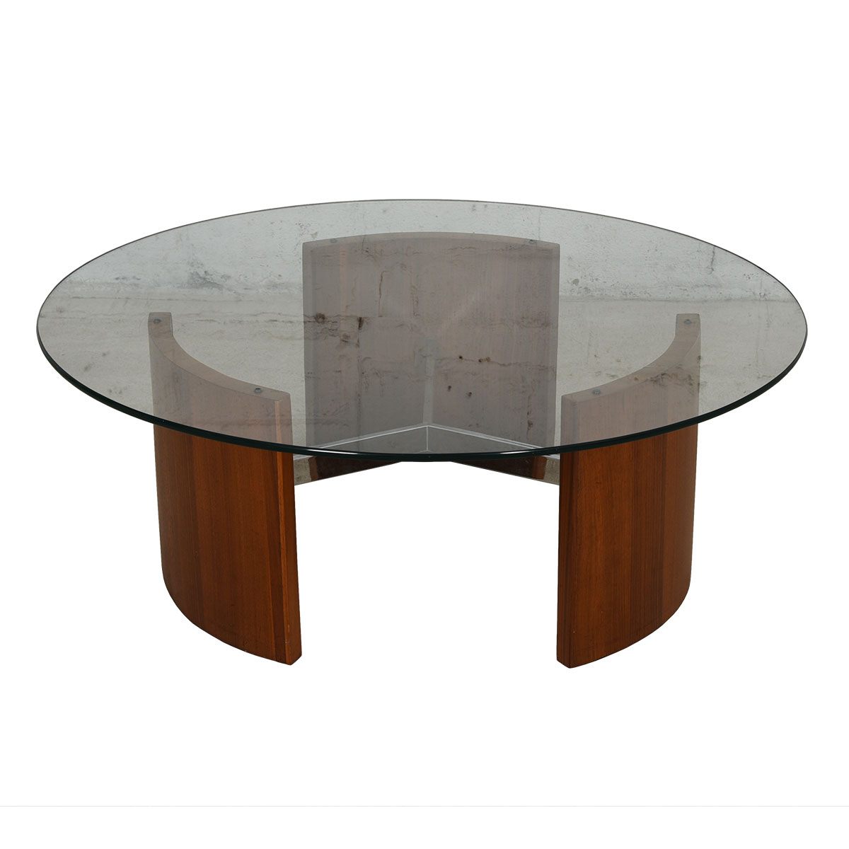 Vladimir Kagan Radius Walnut Glass Top Cocktail / Coffee Table