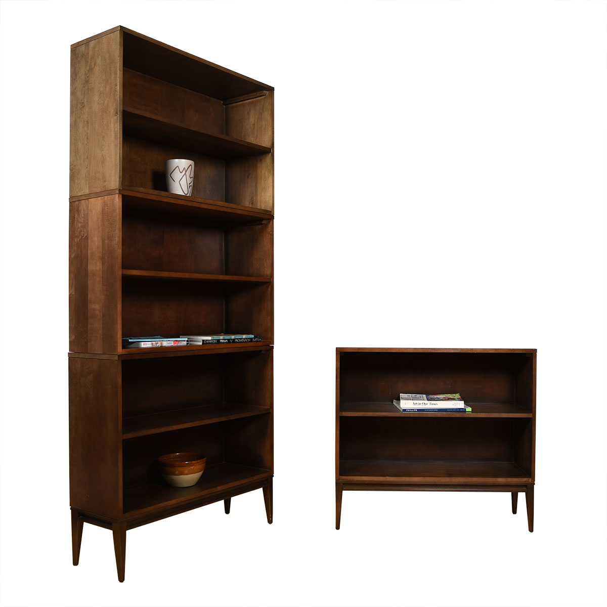 Pair of Mid Century Paul McCobb Petite Tall Stacking Bookcases