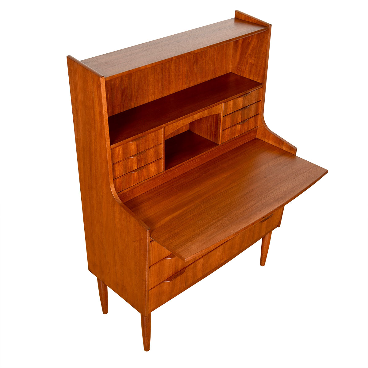 Danish Modern Teak Compact Secretary / Desk with Vanity Mirror