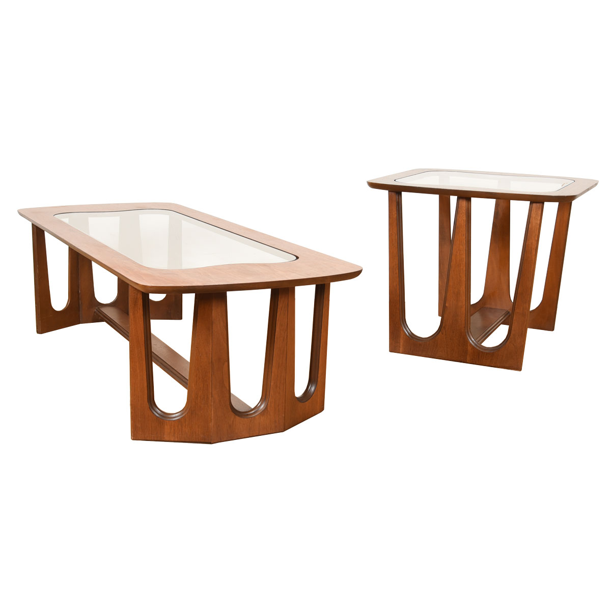 Sculptural Mid Century Walnut & Glass Coffee + End Table
