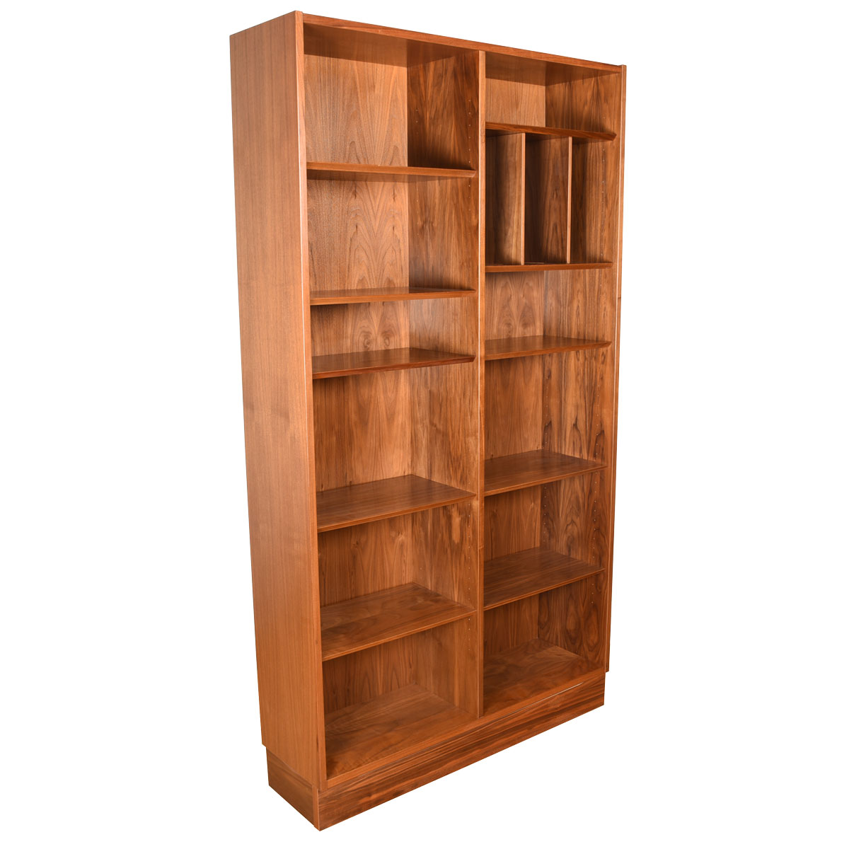 Danish Walnut 42″ Adjustable Tall Bookcase + Magazine / Vinyl Record Dividers