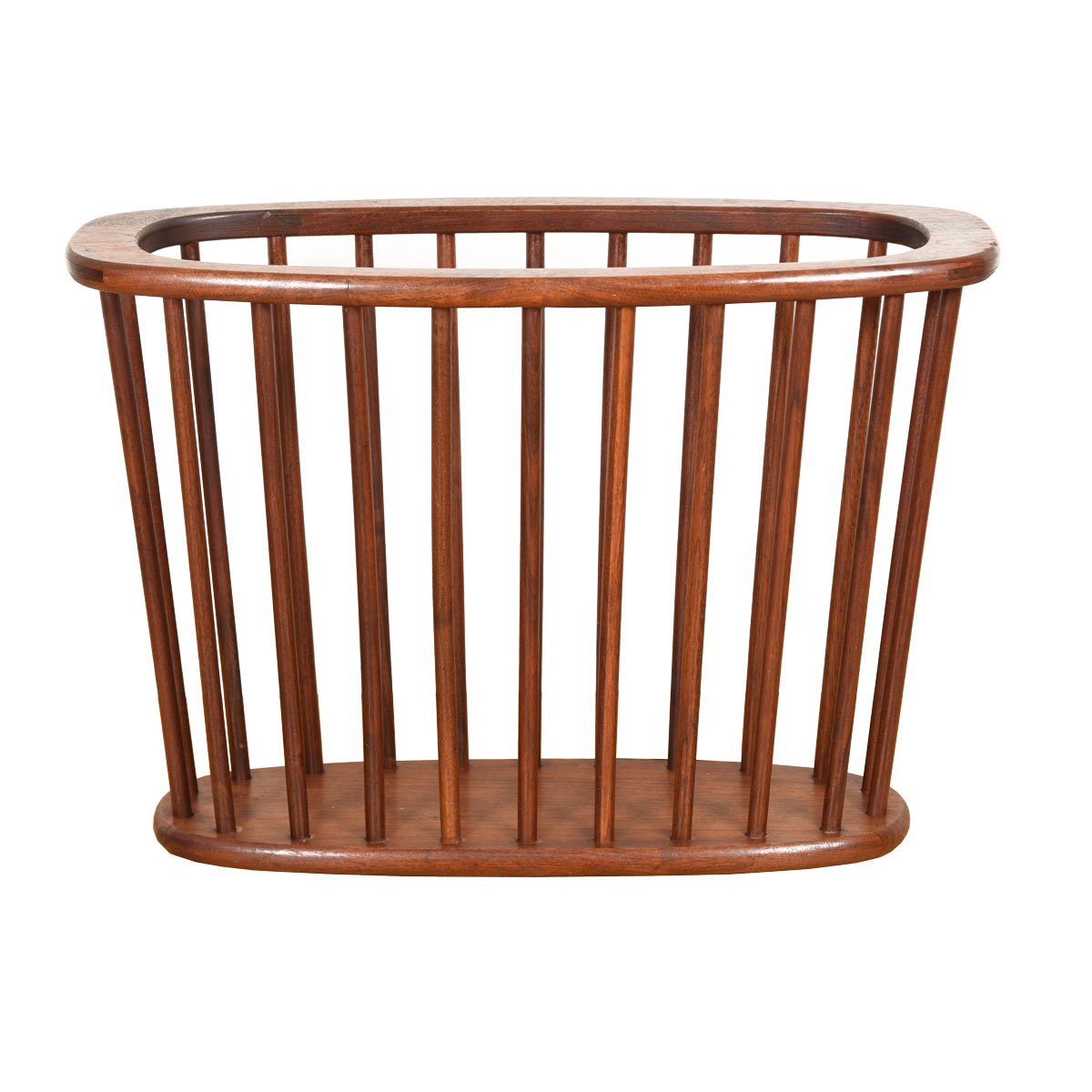 Mid Century Modern Long Oval Slatted Magazine Rack
