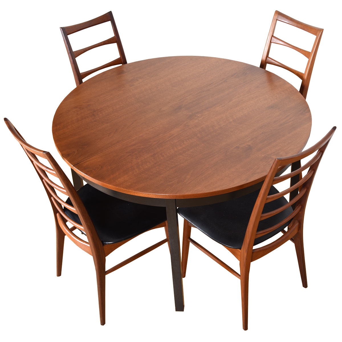 American Modernist Round to Oval Expanding Walnut Table Top + Ebonized Legs