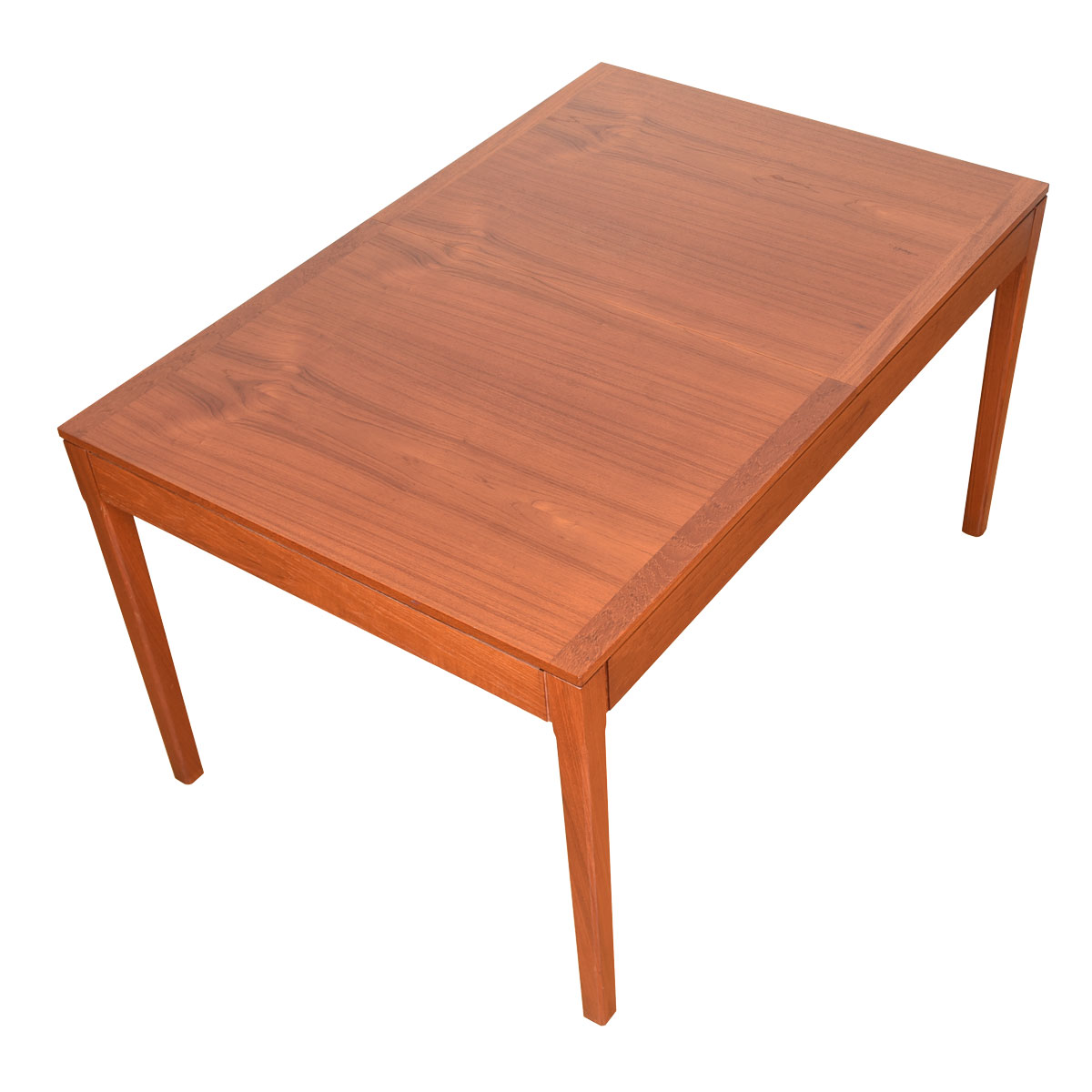 Compact Rectangular Expanding Danish Teak Dining Table
