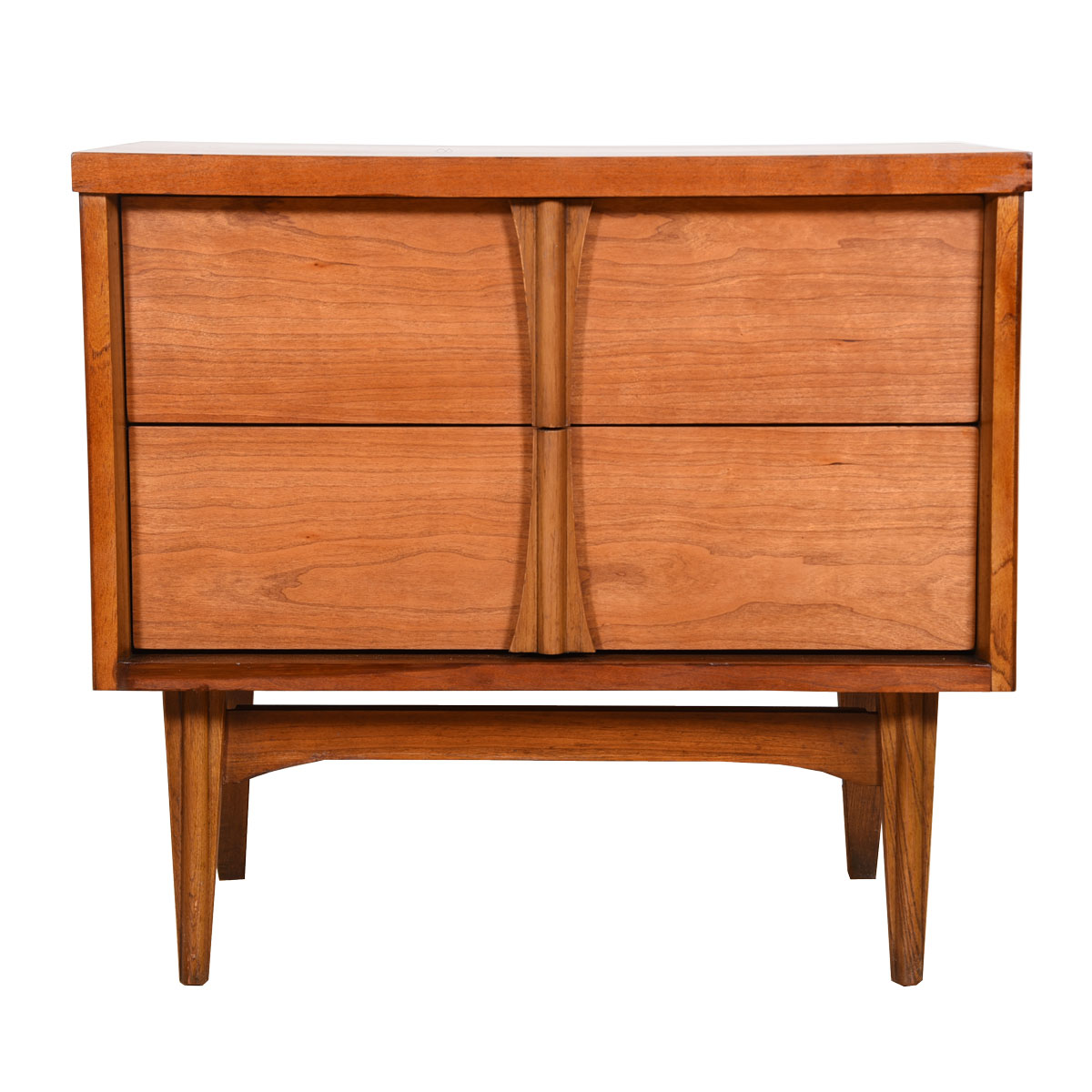Mid-Century Modern 2-Drawer Nightstand with Sculptural Pulls