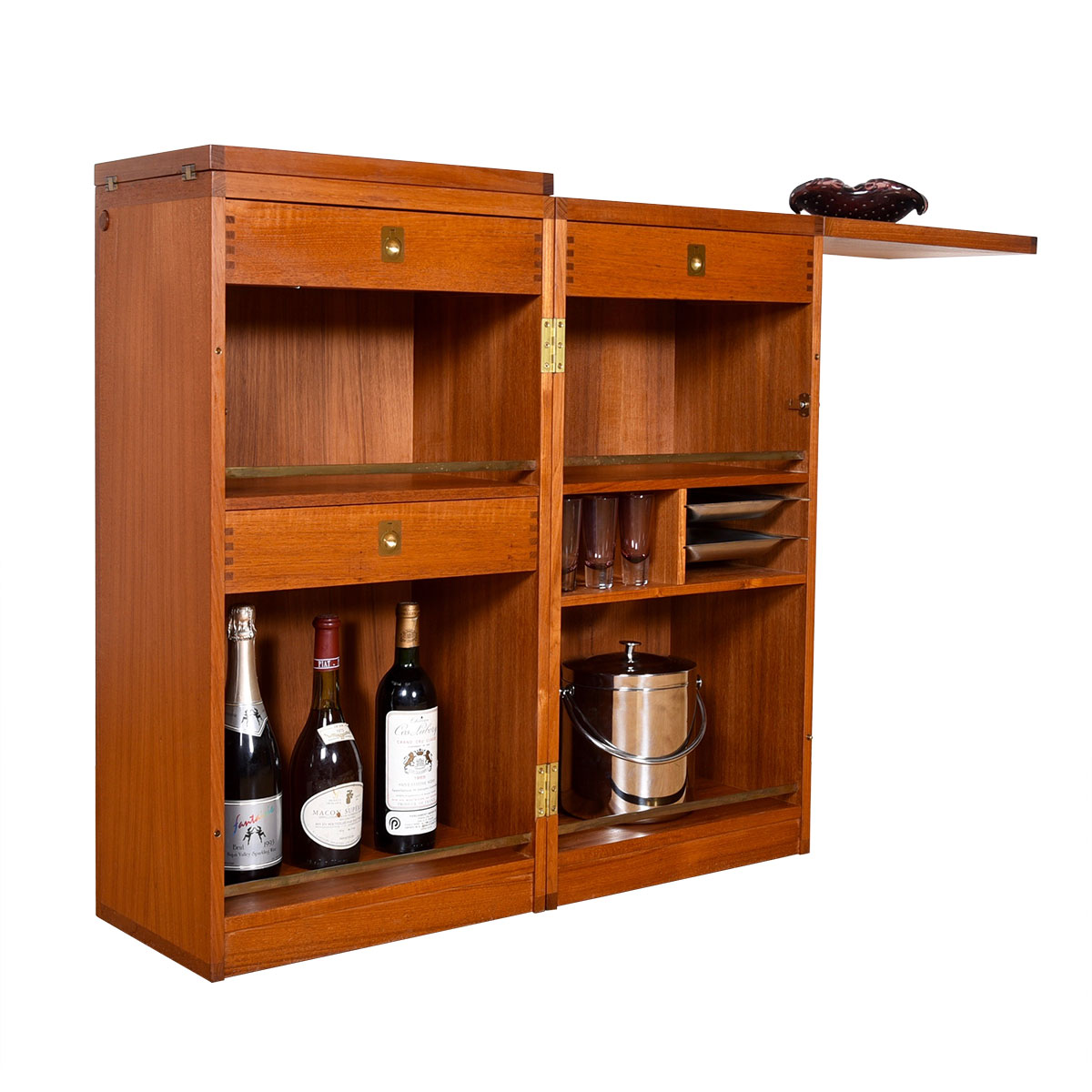 Danish Teak Captain's Expanding 'Book Bar' / Storage Cabinet by Dyrlund