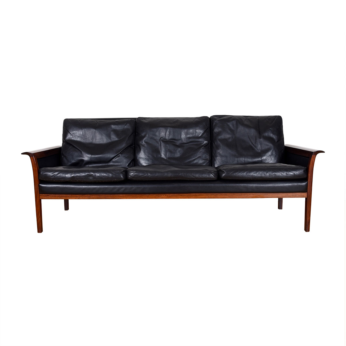 Compact Rosewood Black Leather Sofa by Hans Olsen