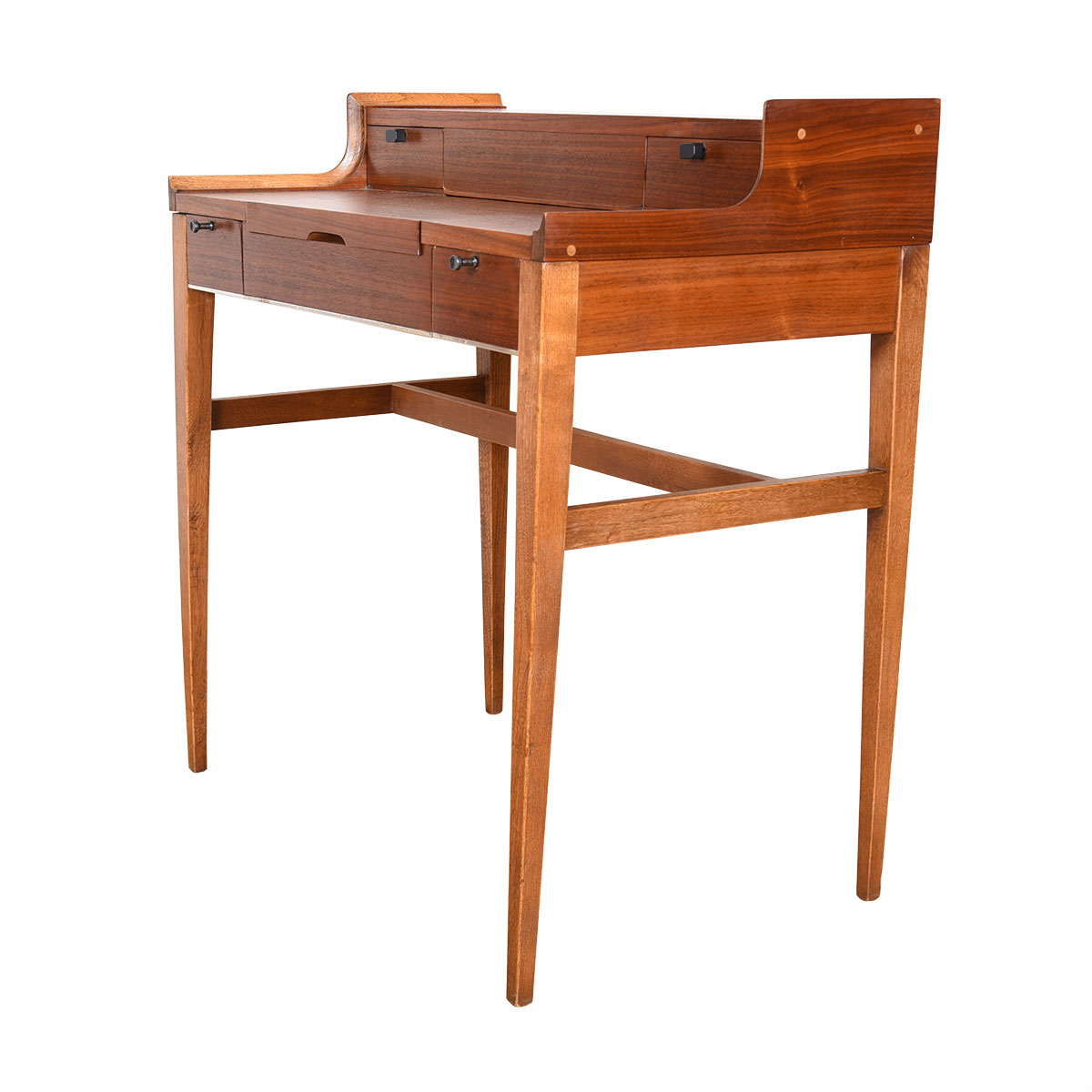 Petite Danish Teak Flip-Open Vanity / Writing Desk w/ Drawers