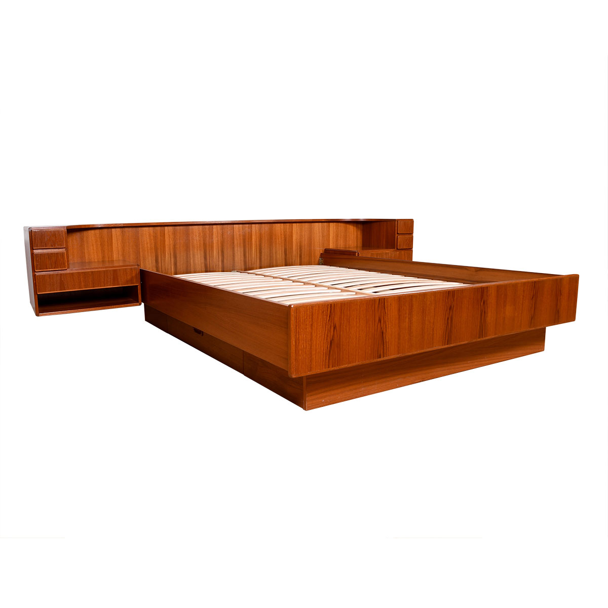 Queen Danish Teak Bed w/ Attached 3-Drawer Nightstands + Hidden Storage Drawers Below