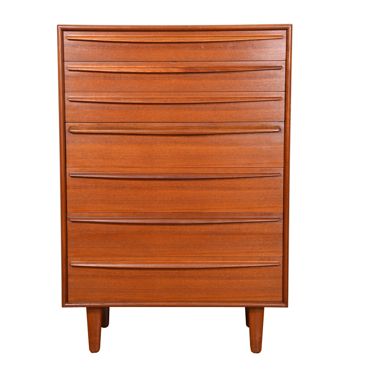 Svend Madsen Danish Teak 7-Drawer Dresser w/ Sculpted Pulls