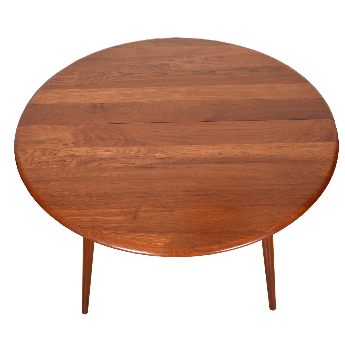Danish Solid Teak Expanding Splayed Leg Dining Table