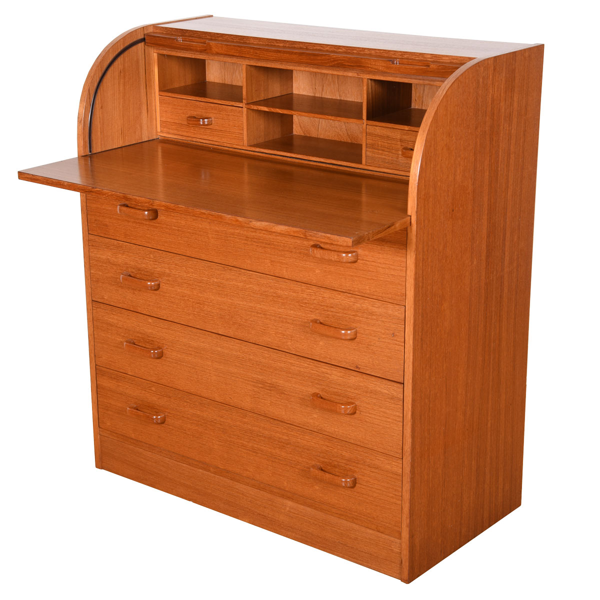 Danish Modern Rolltop Secretary Desk / Dresser in Teak