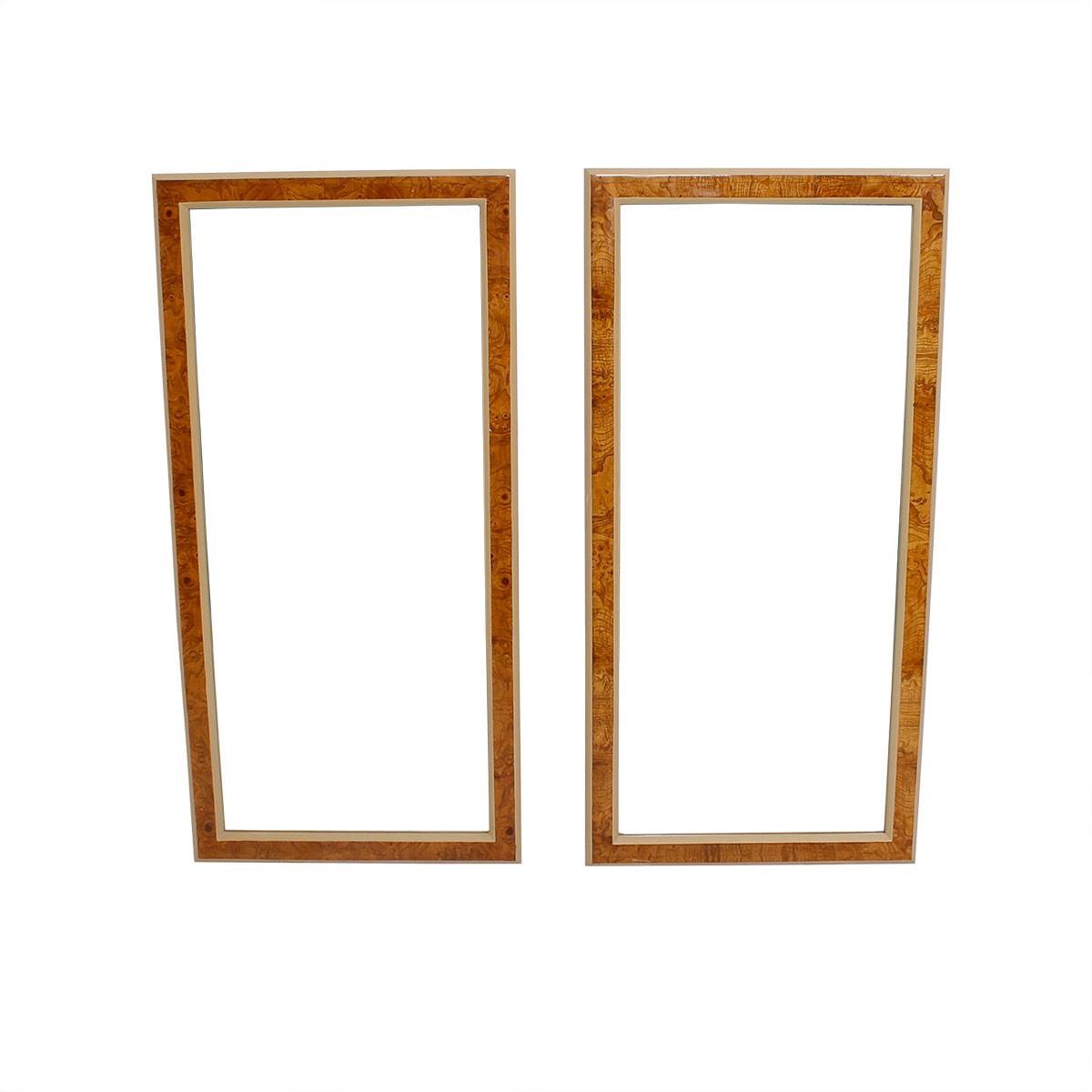 Pair of Milo Baughman Burled Wood Accented Wall Mirrors