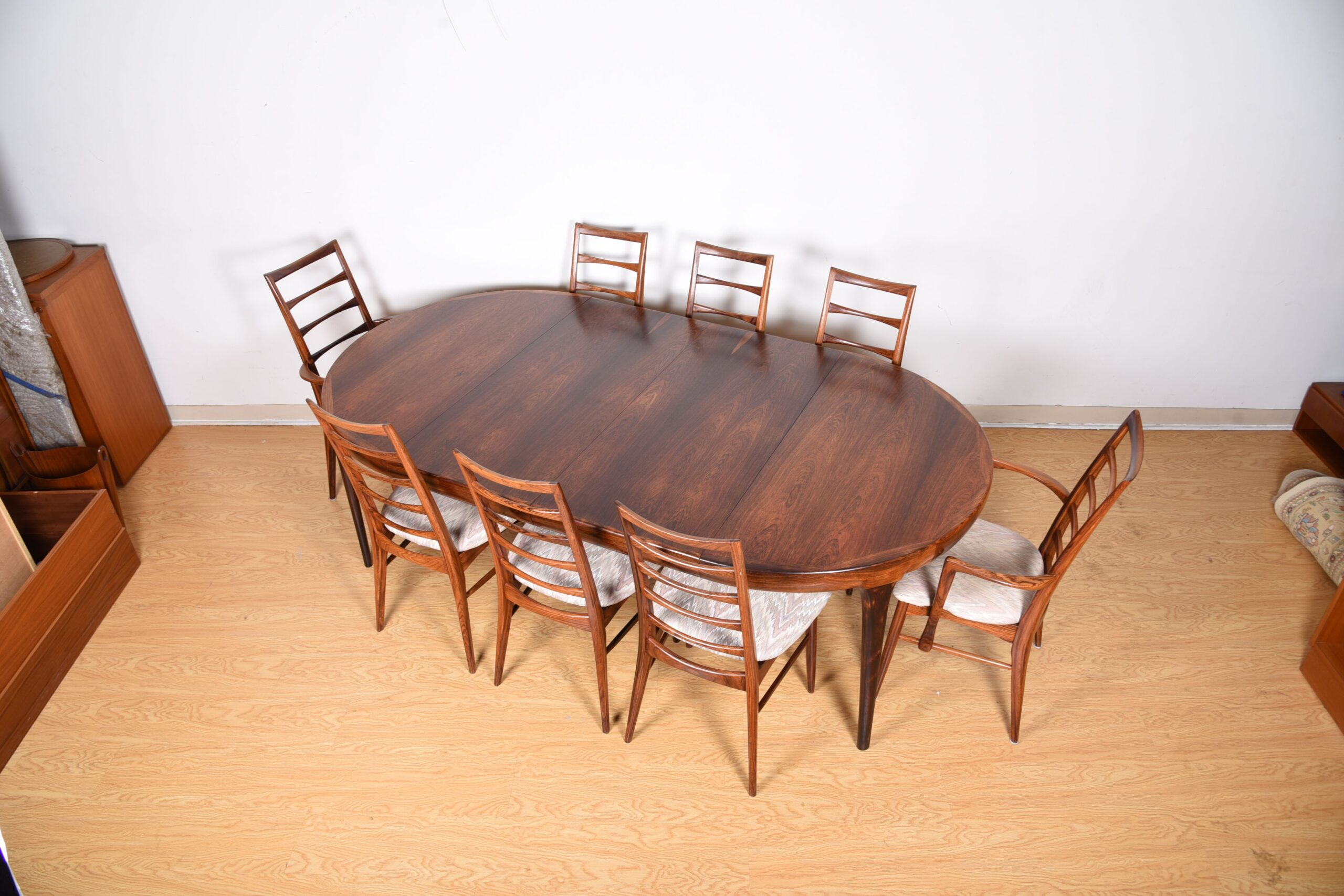 Ib Kofod Larsen Round to Oval Expanding Dining Table in Rosewood