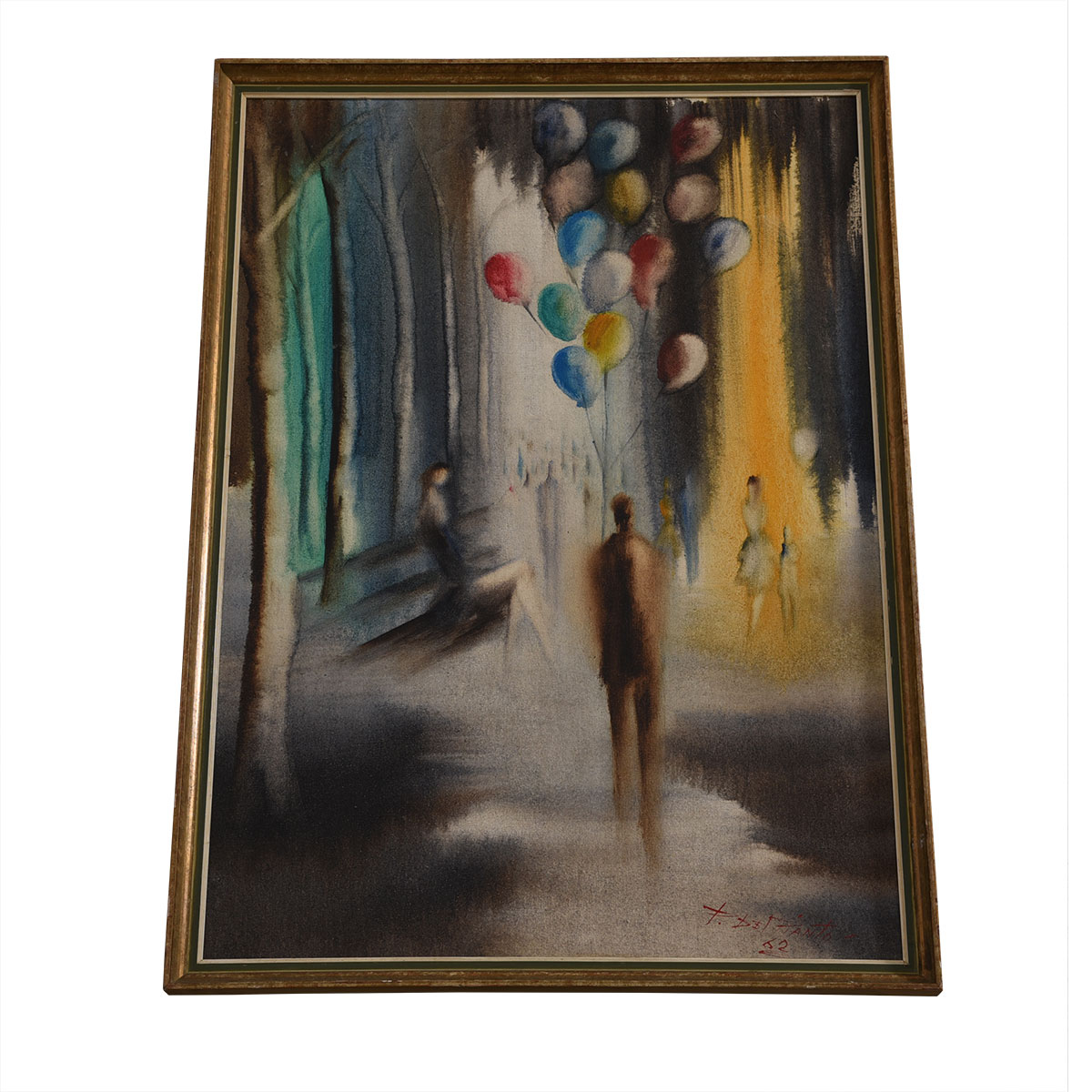 Vintage Man with Balloon Impressionistic Artwork
