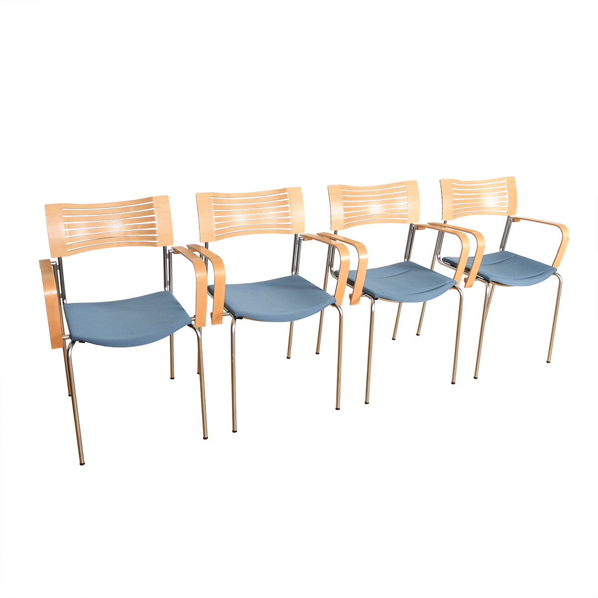 Set of Danish Bentwood & Chrome Stackable Arm Chairs
