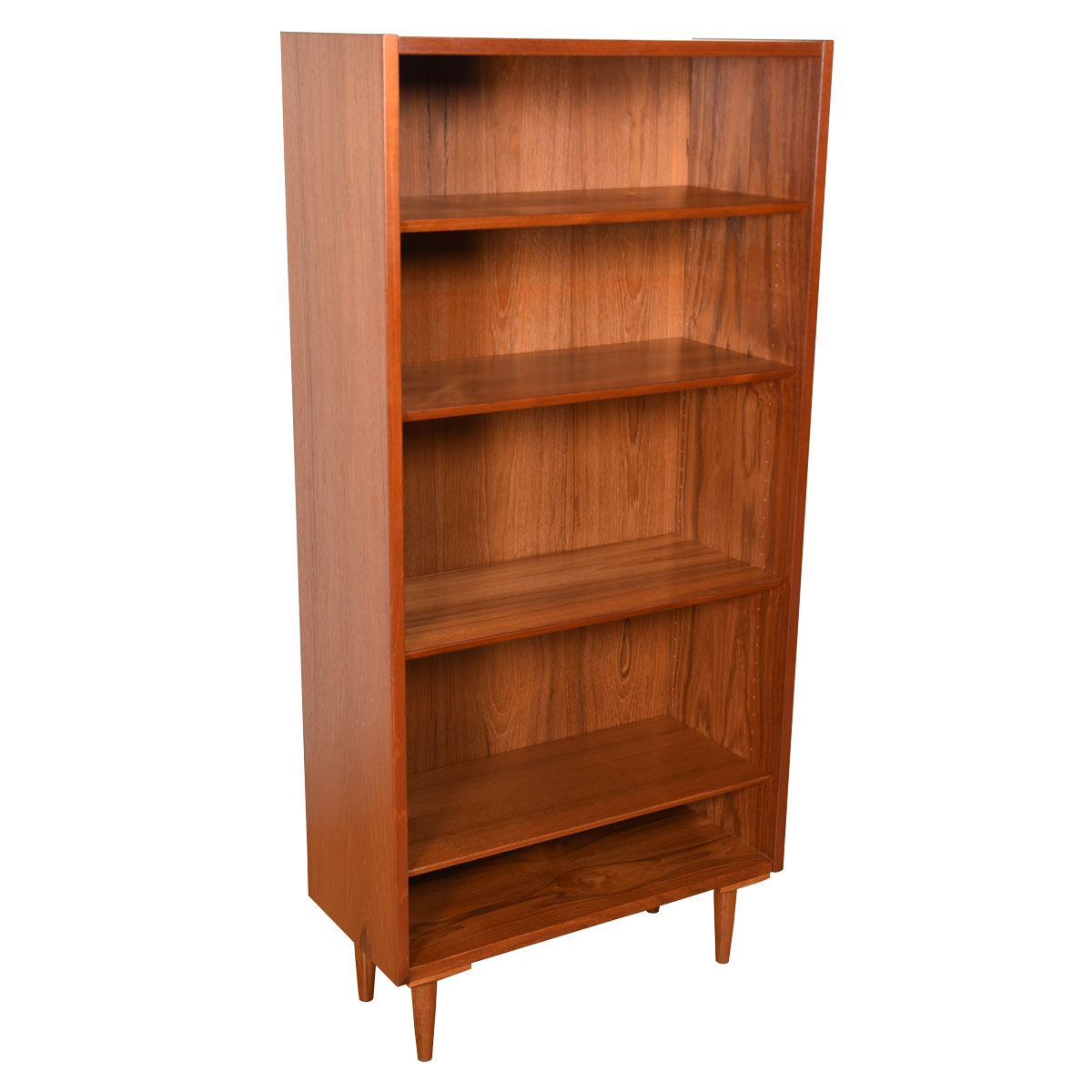58″ Tall Danish Teak Compact Bookcase on Legs