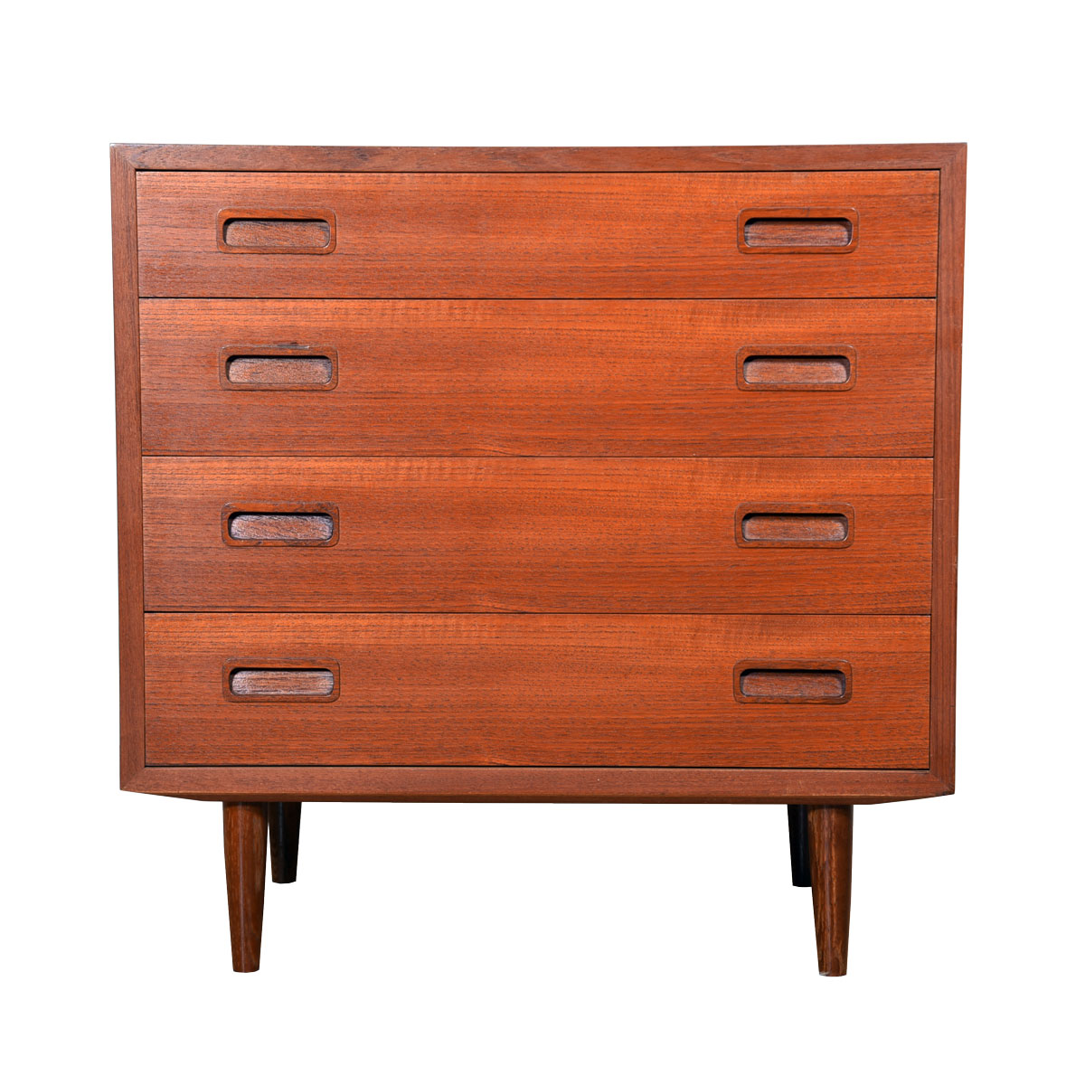 Compact Danish Modern Chest of Drawers with Bookcase Top in Teak