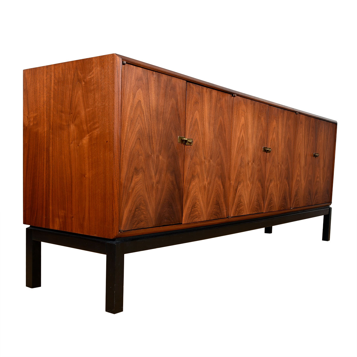 Asian-Inspired Mid Century Walnut Long Cabinet / Sideboard w/ Brass Latches
