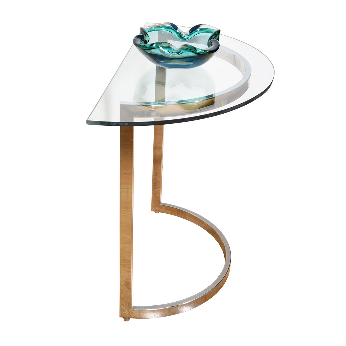 Roche Bobois  Half-Round Glass Top Accent / Entryway Table