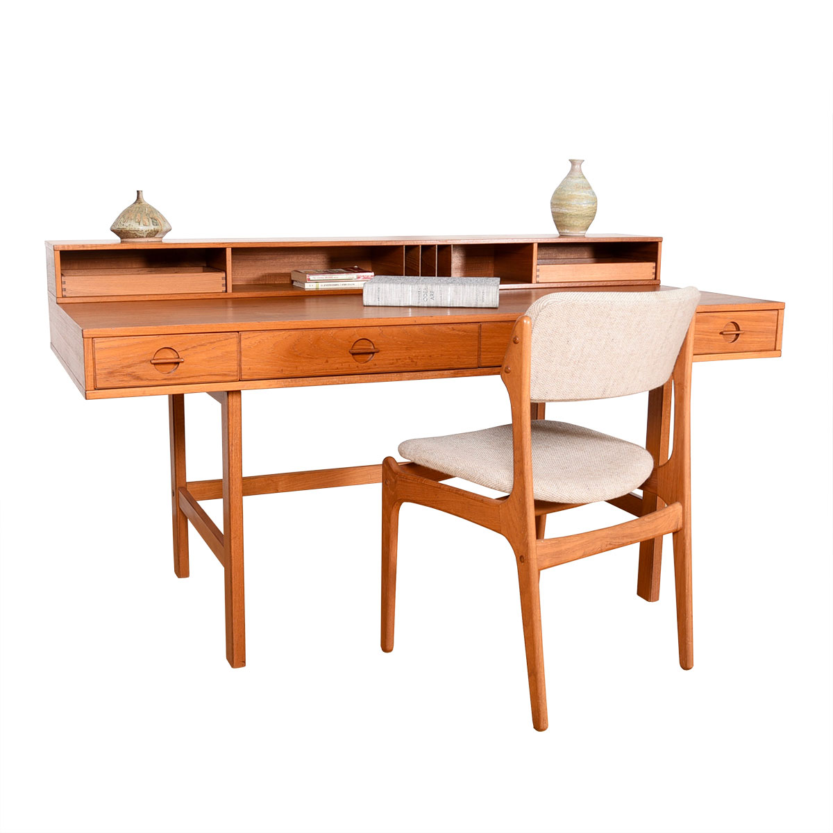 'Flip-Top' Danish Modern Teak Partner's Desk by Lovig