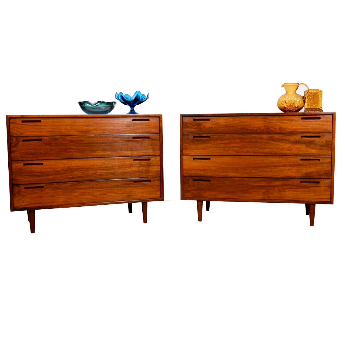 Pair of Old-Growth Walnut 4-Drawer Danish Chests