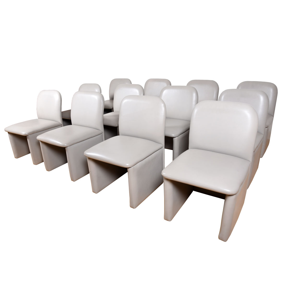 Set of 12 Contemporary Dining | Conference Chairs Fully Upholstered in Pearl Gray Leather
