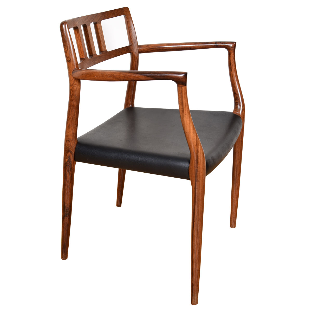 Single Dining Chair with Arms by Niels Moller in Rosewood