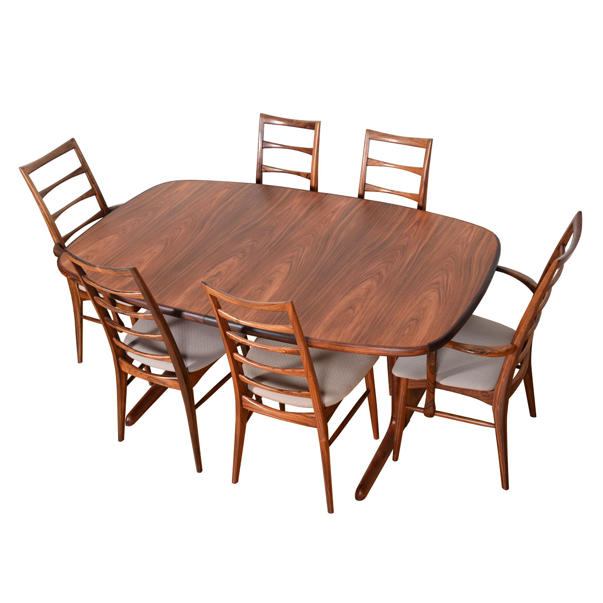 Danish Rosewood Expanding Rectangular Dining Table with Rounded Corners