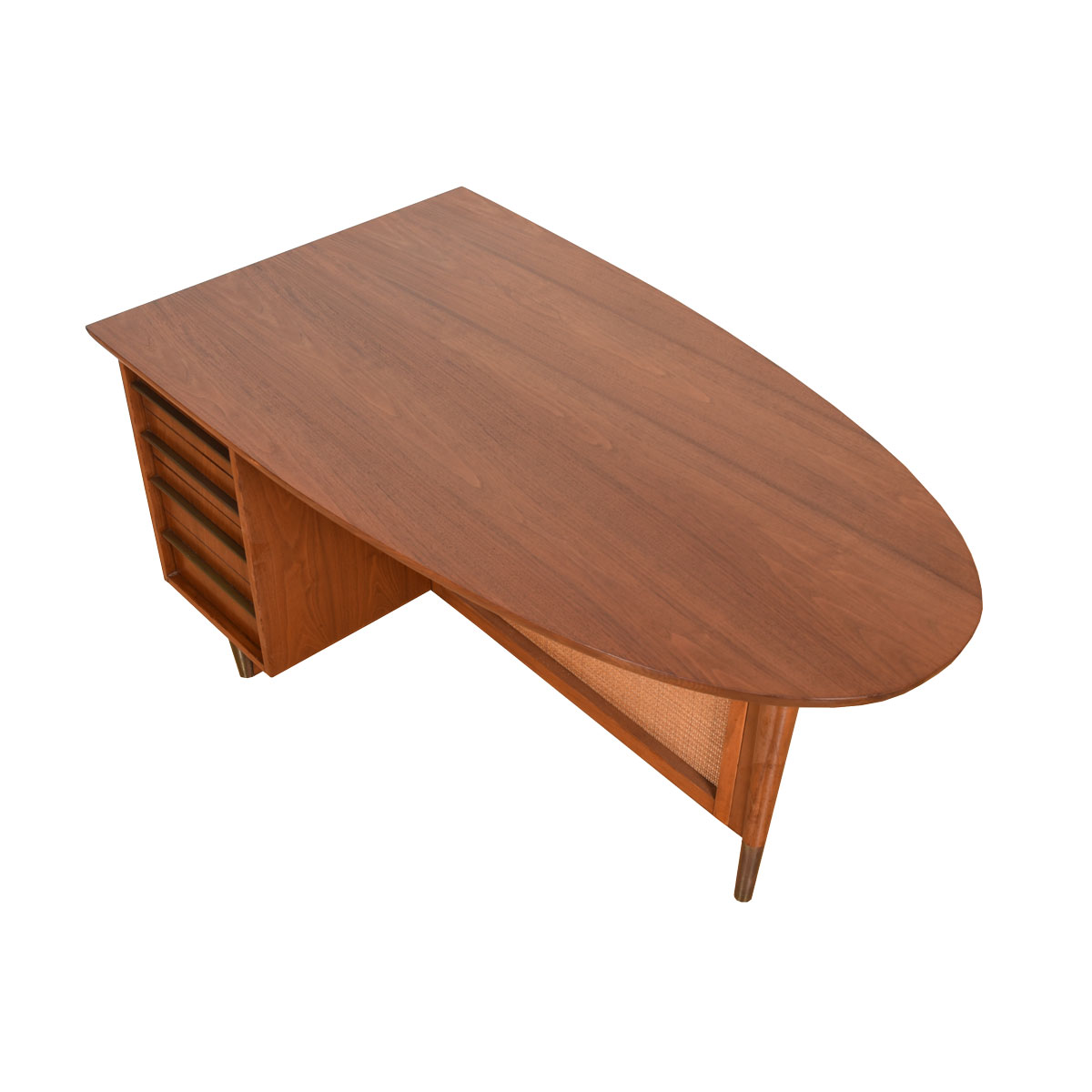 Unique Ovoid Walnut Desk with 3 Drawers