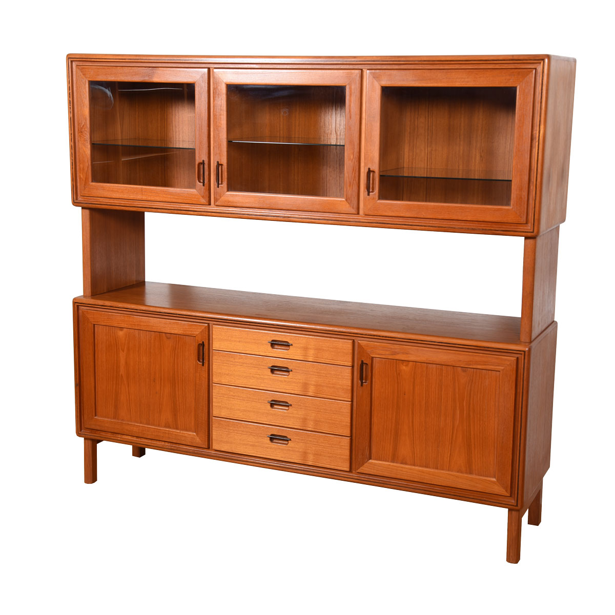 Swedish Modern Double Decker Lighted Teak Highboard w/ Serving Shelf