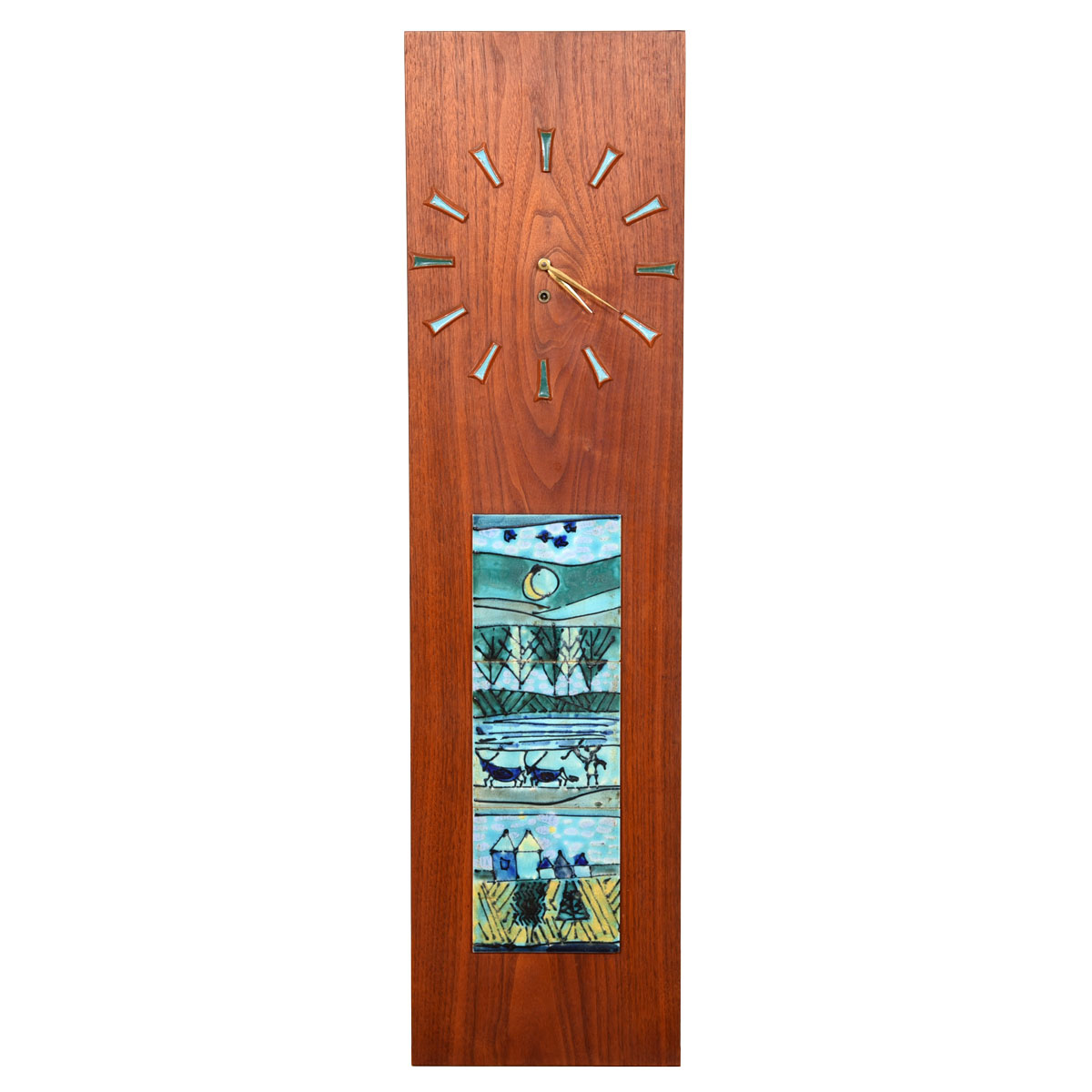MCM Wall Clock with Decorative Tile on Walnut Panel
