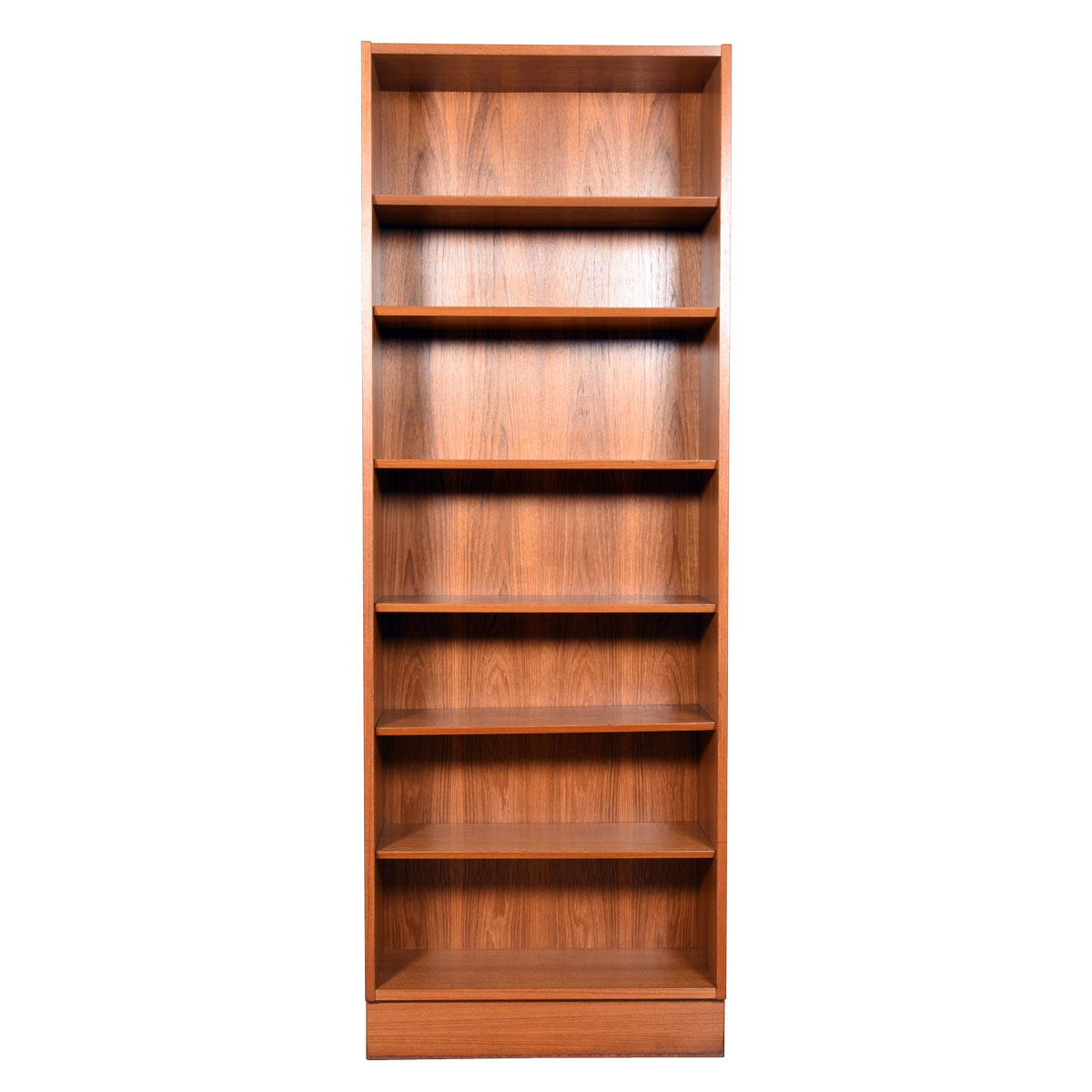 Slim Danish Teak Bookcase with Adjustable Shelves