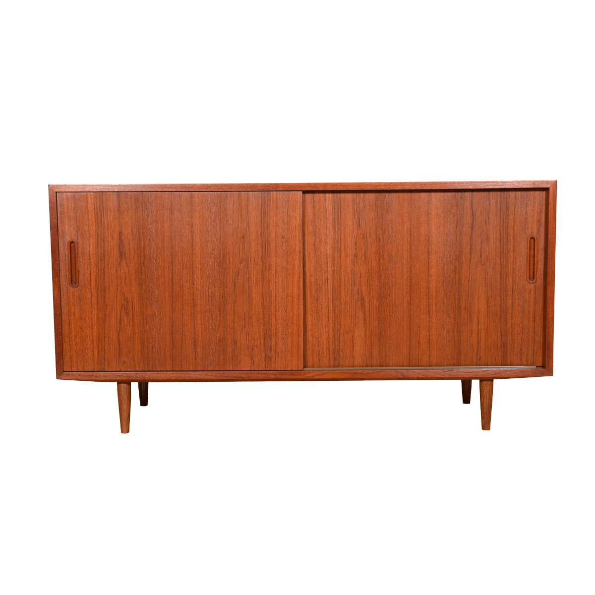 Compact Danish Teak Sideboard / Media Cabinet with Sliding Doors