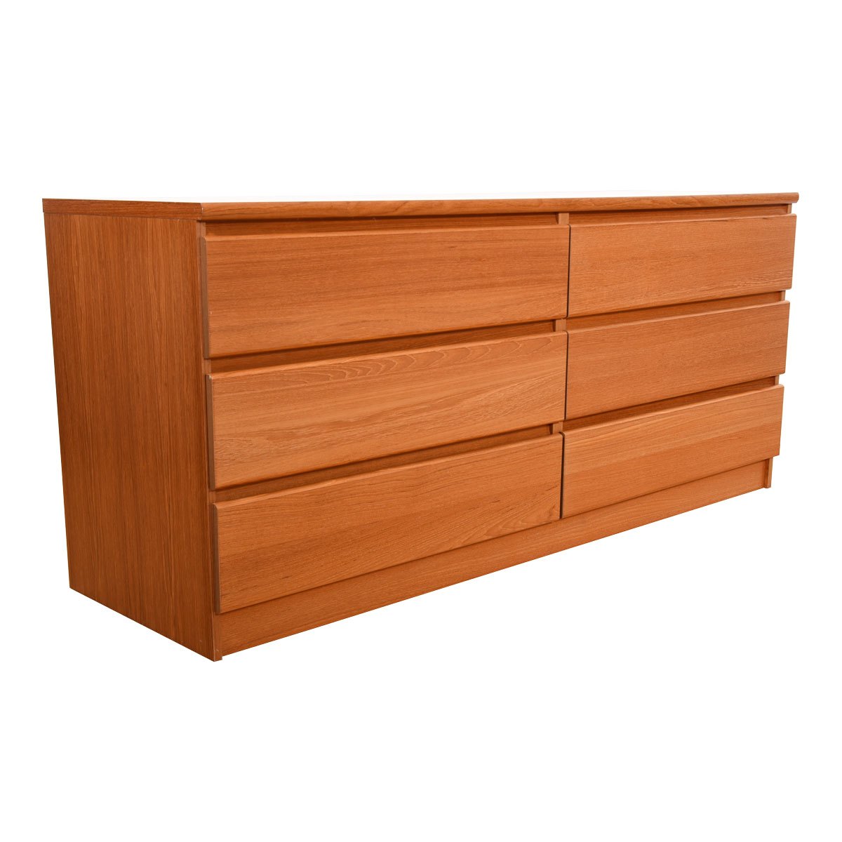 66″ Long MCM Dresser with Six Drawers and Sleek Pulls