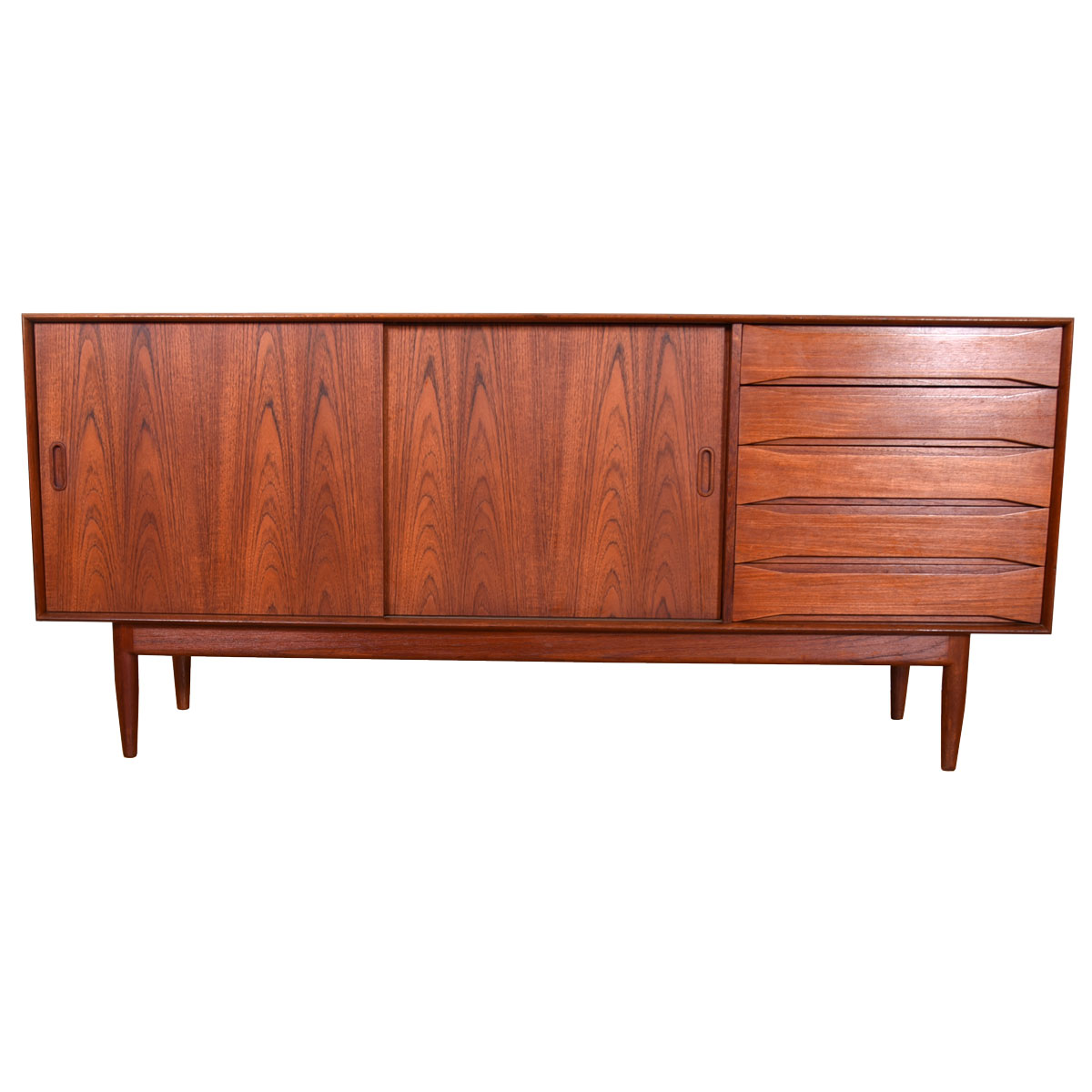 Danish Modern Credenza by Johannes Aasbjerg with Sliding Doors in Solid Teak