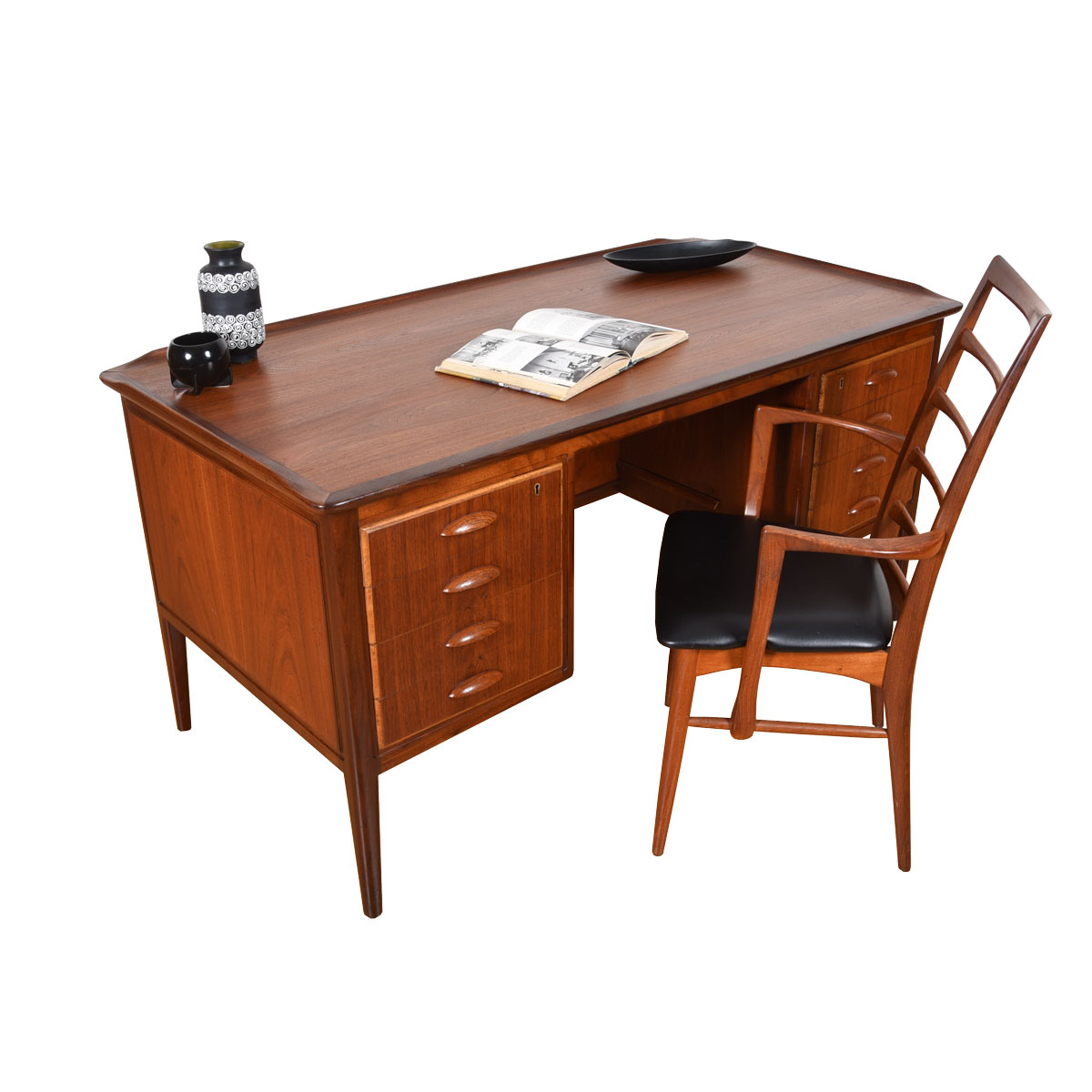 The Sultry Danish Modern Teak Desk w/ Bookcase Front