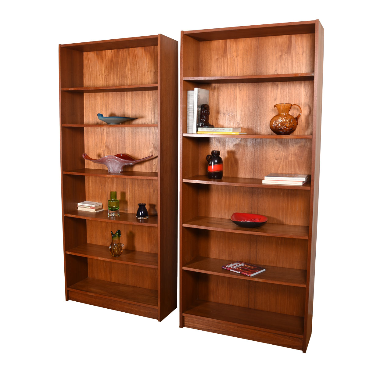 Pair 84″ Tall Danish Teak Bookcases with Adjustable Shelves